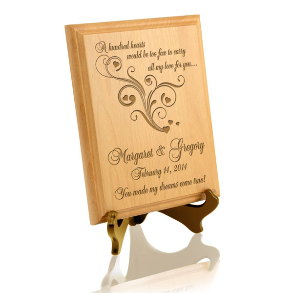 A Hundred Hearts Wooden Plaque