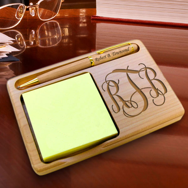 Monogram Wooden Notepad & Pen Holder
