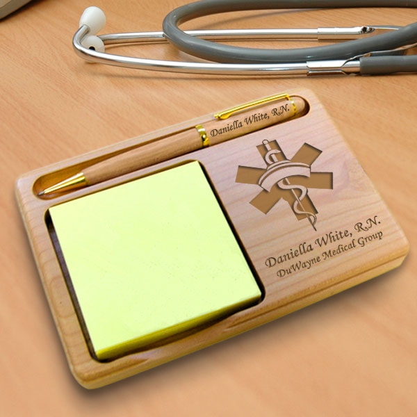 Nurse Wooden Notepad & Pen Holder