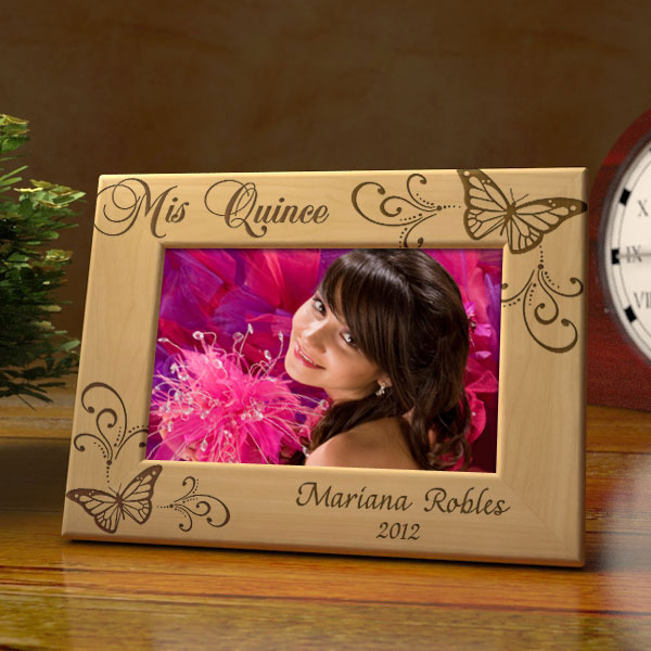 Butterfly Quincea�era Wooden Picture Frame