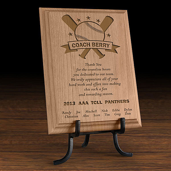 Baseball All-Star Coach Wooden Plaque