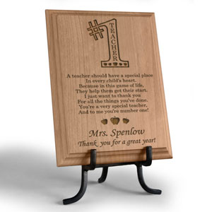 Number One Teacher Wooden Plaque