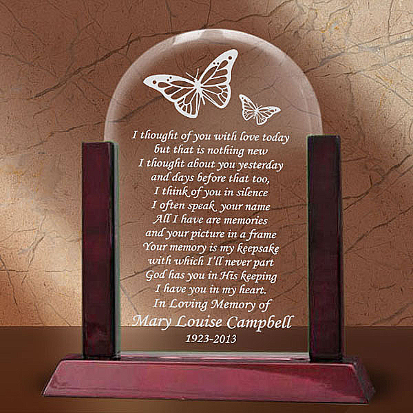 Remembrance Butterfly Glass Arch Keepsake with Wooden Base