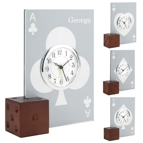 Glass Casino Card Alarm Clock with Wooden Die Base