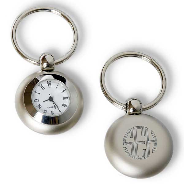 Satin Silver Clock Key Chain