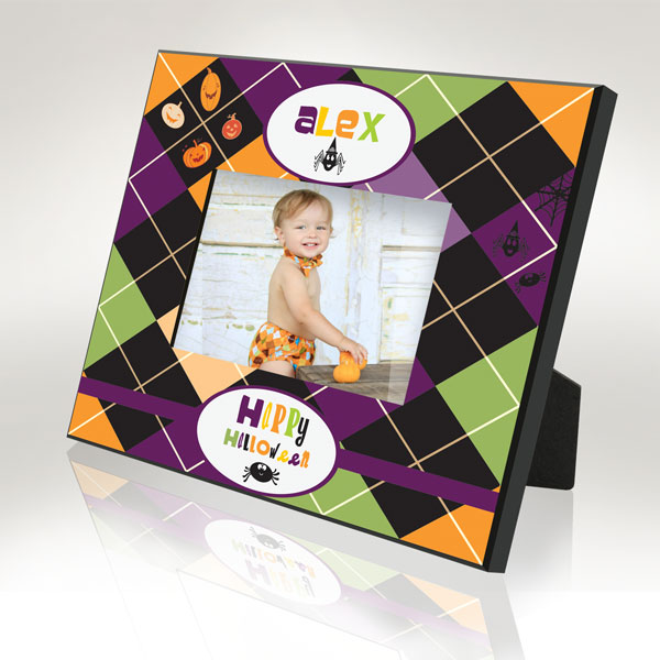 Checkered Halloween Picture Frame