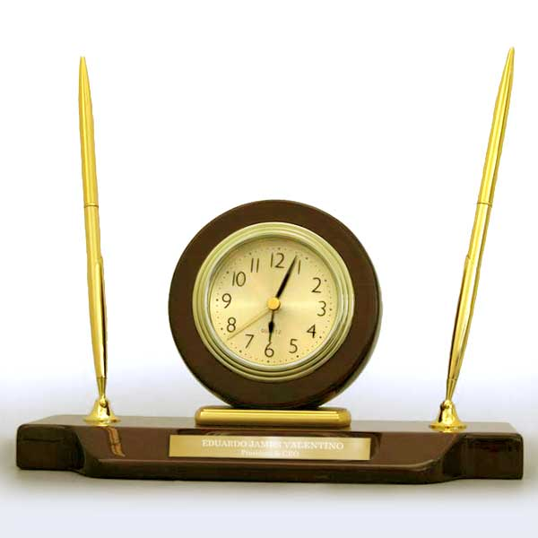 Mahogany Desktop Clock with Double Pens
