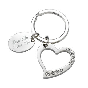 Silver Heart with Crystals Key Chain