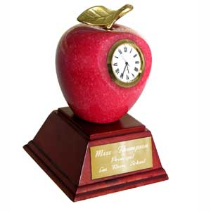 Marble Red Apple Clock & Paperweight