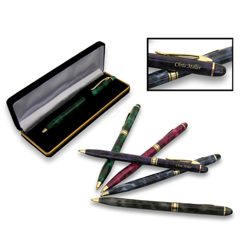 Marbleized Pen & Velvet Case