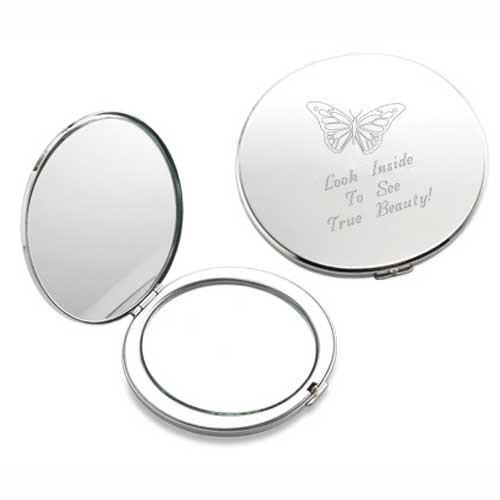 Butterfly Silver Compact Mirror