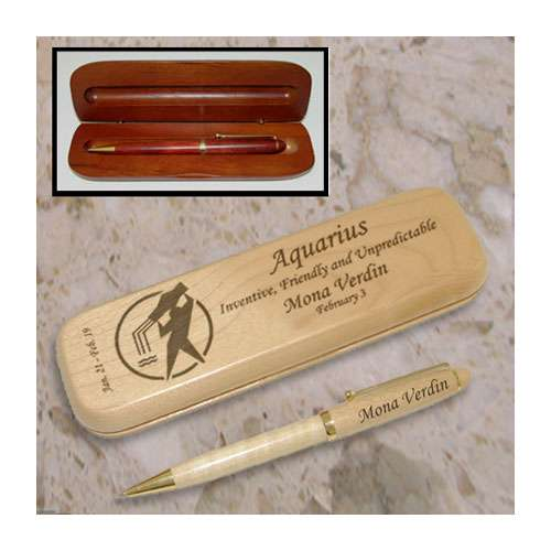 Aquarius Zodiac Wooden Pen & Case Set